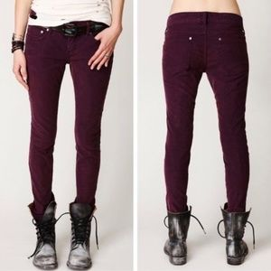 Free People Womens 27 L31 Sangria Red Skinny Cords